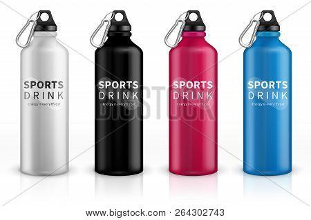 Sports Stainless Bottles. Bike Metal Reusable Drink Flask. 3d Realistic Vector Mockup. Illustration