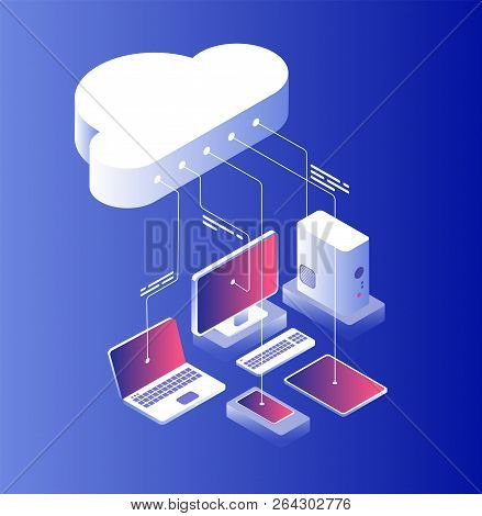 Cloud Computing. Information Technology With Laptop Computer And Smartphone Configuration. Cloud Ser