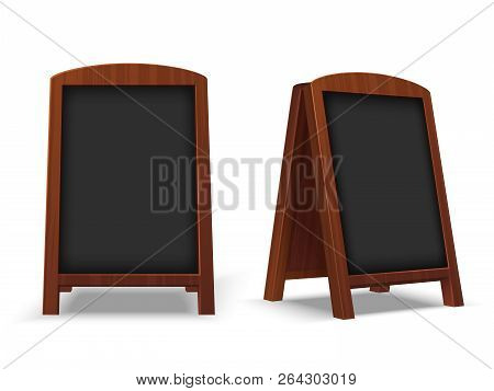 Sidewalk Chalkboard. Outdoor Restaurant Blackboard With Wood Frame. Empty Cafe Texting Easel 3d Vect
