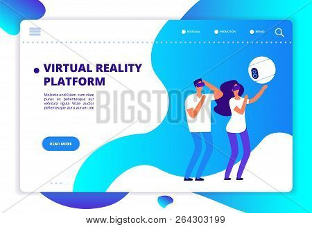 Virtual Augmented Reality. People With Mobile Entertainment And Headset Playing Virtual Game. Vr Fut