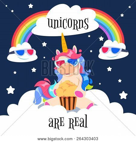 Cute Magical Unicorn With Rainbow. Fantasy Pony On Clouds. Cartoon Unicorn Wallpaper Vector Design.