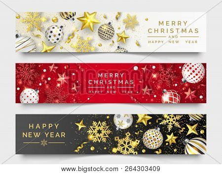 Three Christmas Horizontal Banners With Shining Snowflakes, Ribbons, Stars And Colorful Balls. New Y