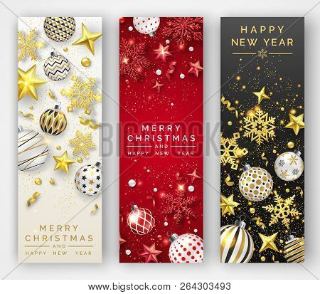 Three Christmas Vertical Banners With Shining Snowflakes, Ribbons, Stars And Colorful Balls. New Yea