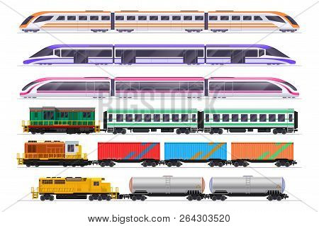 Trains Set. Passenger And Freight Train With Wagons. Vector Railway Transportation Isolated On White