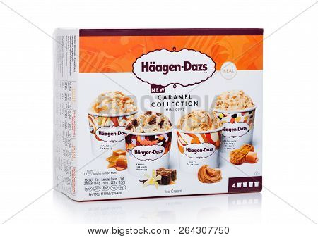 London, Uk - October 20, 2018: Multipack Of Haagen-dazs Caramel Collection Ice Cream On White.