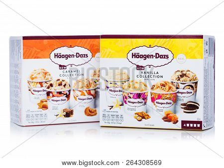 London, Uk - October 20, 2018: Multipack Of Haagen-dazs Vanilla And Caramel Collection Ice Cream On
