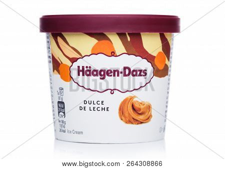 London, Uk - October 20, 2018: Mini Cup Of Haagen-dazs Macadamia Dulce De Leche Ice Cream On White.