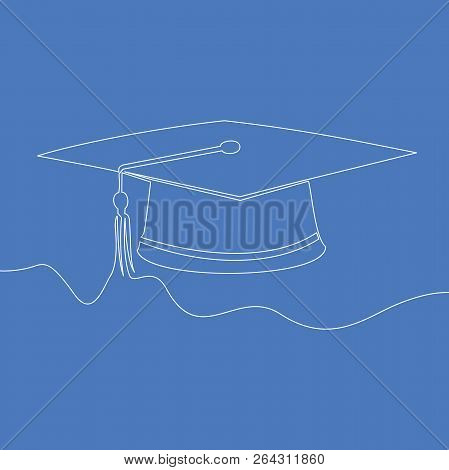 One Line Drawing Isolated Vector Object Graduation Cap Vector Illustration Concept