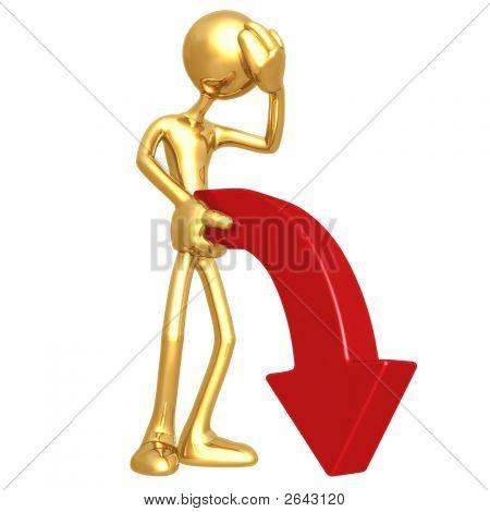 Limp Downward Market Trend Arrow