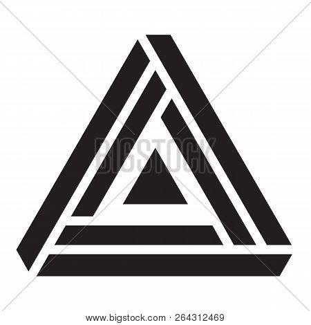 Penrose Triangle, Illusion Triangle Vector Illustration, Logo Design Element