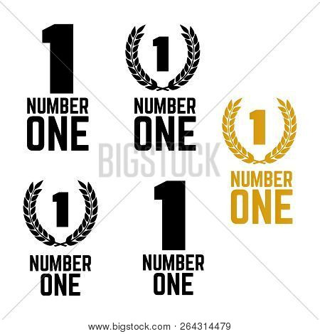 Number One Retro Labels. Set Of One Number Logo. First Place Badge