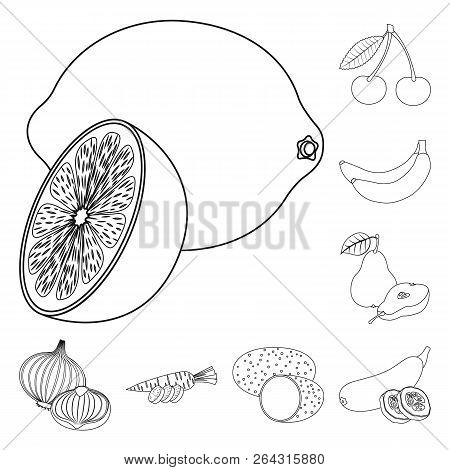 Vector Design Of Vegetable And Fruit Symbol. Set Of Vegetable And Vegetarian Stock Symbol For Web.
