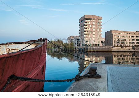 Modern Buildings And Vessel In The City Rostock, Germany.