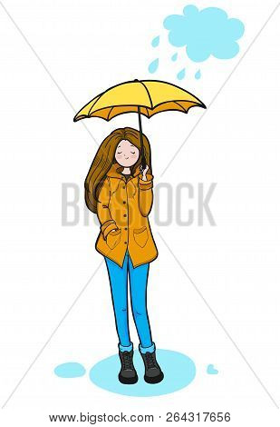 Young Woman In A Yellow Slicker Is Enjoying Rainy Weather. Vector Illustration.