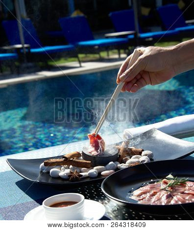 Asian Testy Food Prepares On Pool Background