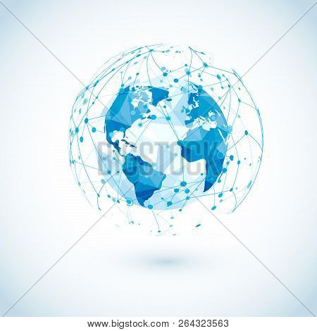 Global Network Connection. Low Polygonal World Map With Abstract Digital Communications. Dots And Li