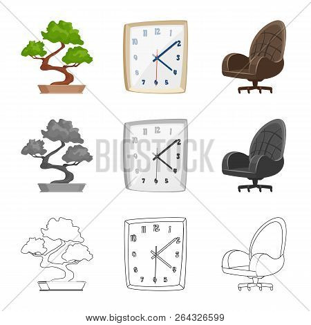 Isolated Object Of Furniture And Work Sign. Set Of Furniture And Home Stock Vector Illustration.