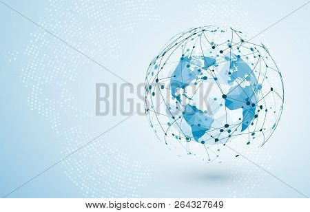 Global Network Connection. Big Data Or Global Social Network Connection. Low Polygonal World Map Poi