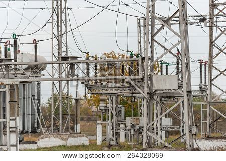Transformer substation, high-voltage switchgear and equipment. volt poster