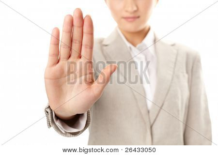Image of female hand showing sign of stop poster