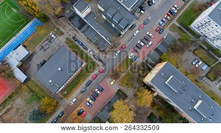 Street With Cars And Buildings Top Aerial City View From Drone