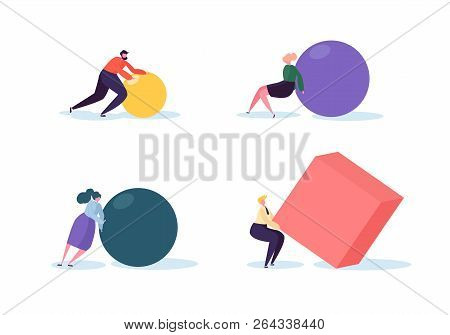Business Competition Concept. People Characters Move Geometric Shapes. Team Work Leadership And Stra