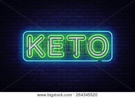 Keto Diet Neon Sign Vector. Ketogenic Diet Design Template Neon Sign, Light Banner, Neon Signboard,