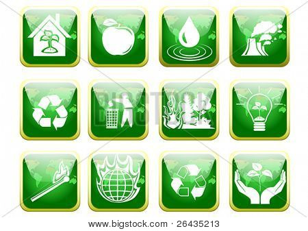 Green environment protection icons set