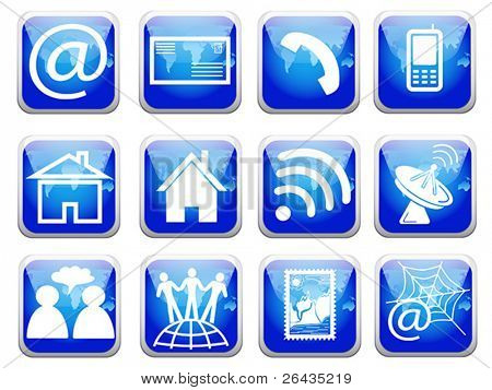 Blue telecommunications icons set