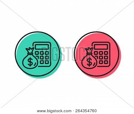 Calculator With Money Bag Line Icon. Accounting Sign. Calculate Finance Symbol. Positive And Negativ