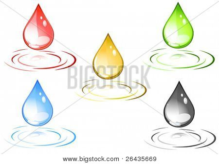 Vector of colored design drops