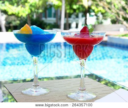Cold Drink In Thailand On Blue Pool Background
