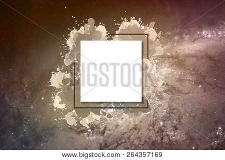Abstract colorless galactic background with an area to write a text on it poster