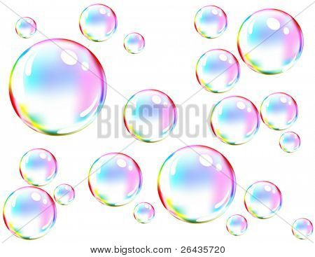 Vector of colored soap bubbles