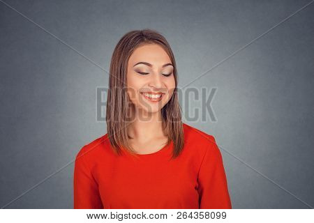 Happy Beautiful Smiling Laughing Woman. Business Lady In Red Dress, Bob Hairstyle. Isolated On Gray