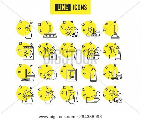 Cleaning Line Icons. Laundry, Sponge And Vacuum Cleaner Signs. Washing Machine, Housekeeping Service