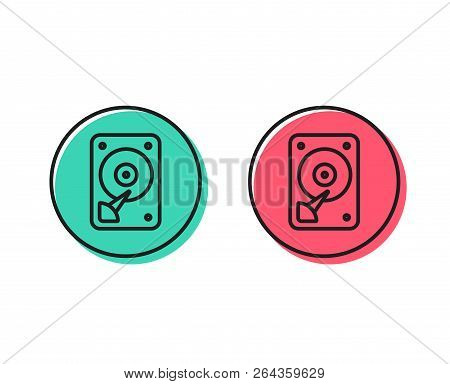 Hdd Icon. Hard Disk Storage Sign. Hard Drive Memory Symbol. Positive And Negative Circle Buttons Con