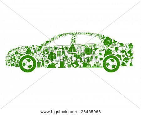 Vector of car shape, made from different ecological items.