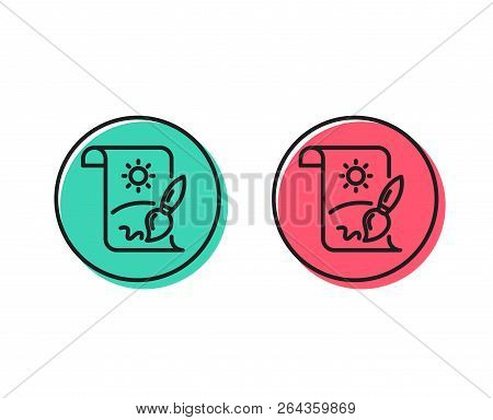 Creative Painting Brush Line Icon. Creativity Sign. Graphic Art Symbol. Positive And Negative Circle