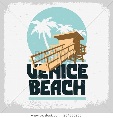 Venice Beach Los Angeles California Lifeguard Tower Station Beach Rescue Palm Trees Logo Sign Label