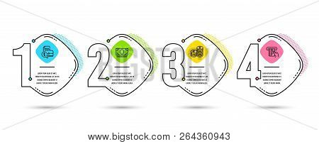 Infographic Timeline 4 Options Or Steps. Set Of Currency, Cash Money And Accounting Report Icons. Cr