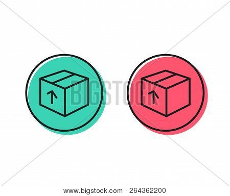 Delivery Box Line Icon. Logistics Shipping Sign. Parcels Tracking Symbol. Positive And Negative Circ