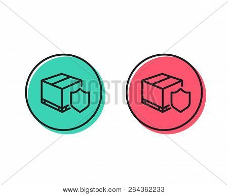 Delivery Insurance Line Icon. Parcels Tracking Sign. Shipping Box Symbol. Positive And Negative Circ