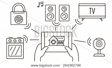 Intelligent House Banner. Outline Illustration Of Intelligent House Vector Banner For Web Design