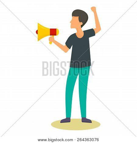 Man Speak In Megaphone Icon. Flat Illustration Of Man Speak In Megaphone Vector Icon For Web Design