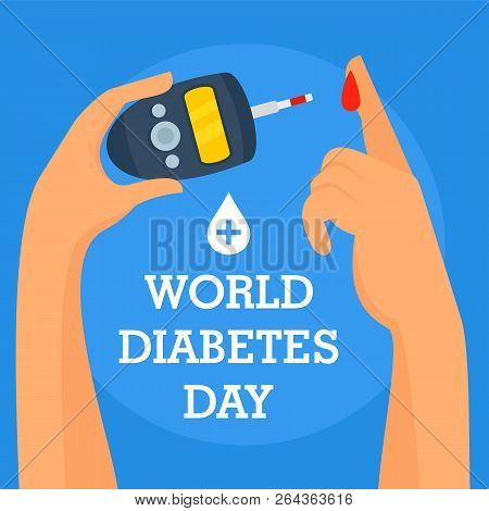 Human Diabetes Day Concept Background. Flat Illustration Of Human Diabetes Day Vector Concept Backgr