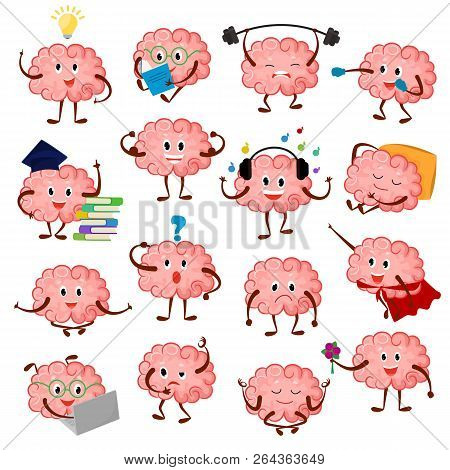 Brain Emotion Vector Cartoon Brainy Character Expression Emoticon And Intelligence Emoji Studying Il