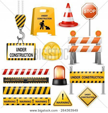 Road Barrier Vector Street Traffic-barrier Warning And Barricade Blocks On Highway Illustration Set