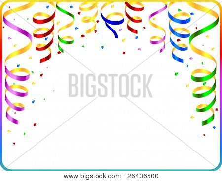 Vector of frame with colored streamers