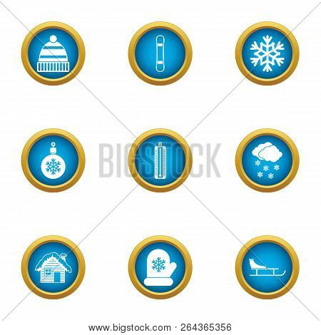 Spend The Winter Icons Set. Flat Set Of 9 Spend The Winter Vector Icons For Web Isolated On White Ba